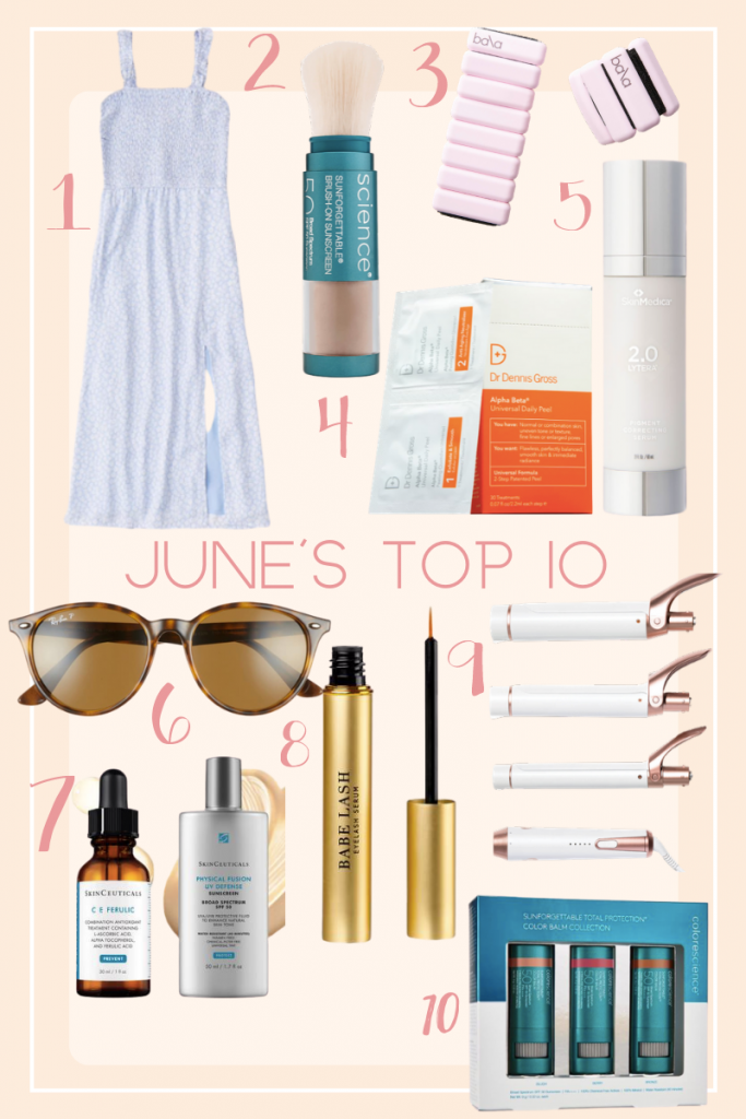 Collage of June's Top Ten with clothes, makeup, and accessories